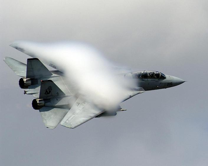 Un caccia F-14, dello stesso tipo di quelli ereditati dall'aviazione dello Scia' dopo la rivoluzione islamica iraniana
