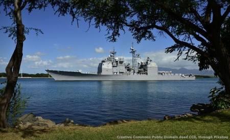 L'export in Mar Nero è condizionato dalle tensioni tra Russia ed USA. Nella fotografia, un incrociatore della US Navy della classe Ticonderoga