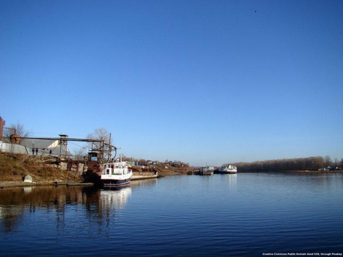 Il grande fiume Volga, in Russia