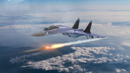 Il modernissimo caccia multi-ruolo russo SU-35, impiegato in Siria contro l'Isis